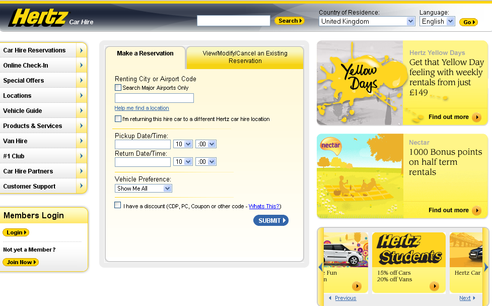 Hertz Homepage jul09