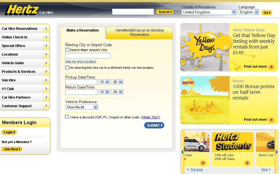 Hertz Homepage jul09